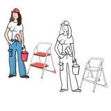 Girl painter stock illustration