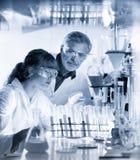 Профессионалы здравоохранения исследуя в научной лаборатории Стоковое фото RF