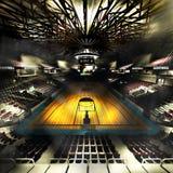 Профессиональная арена баскетбольной площадки в иллюстрации светов 3d иллюстрация вектора