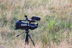 Профессиональная видеокамера на треноге Репортажно-документальная снимая живая природа Шестерня кинематографии на луге стоковые фото