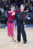 Профессиональная пара танца выполняет латино-американскую программу Youth-2 на трофее союзничества стоковая фотография rf