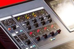 Профессиональное смешивание звука консоли Стоковое Изображение RF