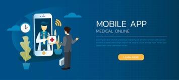 Профессиональные доктор и встреча пациента советуют применению онлайн на smartphone Стоковые Фотографии RF