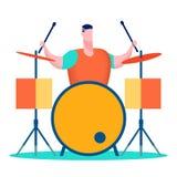 Профессиональный барабанщик, иллюстрация музыканта плоская иллюстрация вектора