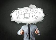 Профессиональный бизнесмен с головой сети облака Стоковые Фотографии RF