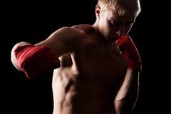 Профессиональный боксер над темной предпосылкой стоковое фото