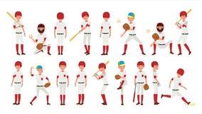 Профессиональный вектор бейсболиста Мощный подающий Динамическое действие на стадионе Изолированный на белом персонаже из мультфи иллюстрация штока