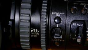 Профессиональный конец-вверх видеокамеры видеоматериал
