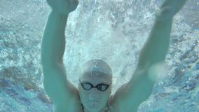 Профессиональный пловец выполняя ход бабочки, тренируя в бассейне видеоматериал