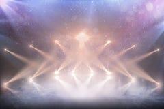 Профессиональный стадион хоккея Красивая пустая предпосылка зимы и пустой каток с светами Справочная информация стоковые изображения
