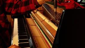 Профессиональный техник рояля играя ключи и настраивая строки с инструментом акции видеоматериалы