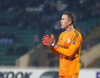 Профессиональный футболист Hannes Halldorsson стоковая фотография