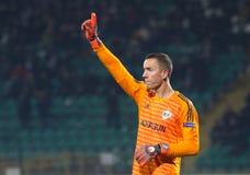 Профессиональный футболист Hannes Halldorsson стоковое изображение rf