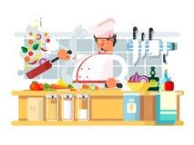 Профессиональный шеф-повар подготавливает в кухне иллюстрация штока