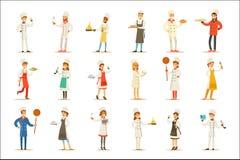 Профессионал варя шеф-поваров работая в ресторане нося классический традиционный белый комплект формы персонажей из мультфильма иллюстрация вектора