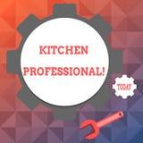 Профессионал кухни показа знака текста Схематическое фото оборудован бесплатная иллюстрация