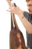 профессионал парикмахера волос длинний модельный стоковая фотография rf
