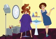 Профессионал салона красотки и клиент бесплатная иллюстрация