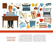 Профессионал содержания писателя сидя таблицей с ноутбуком иллюстрация штока