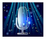 Микрофон на этапе Профессионал стоит вверх концепция mic передачи занавеса театра иллюстрация вектора