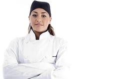 профессионал шеф-повара близкий женский вверх по взгляду стоковая фотография