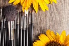 Профессионал составляет щетки рядом с красивыми полевыми цветками стоковое фото