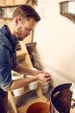 Профессионал с пригорошней свеже зажаренных в духовке кофейных зерен Стоковое фото RF