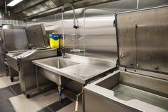 Профессиональная кухня, счетчик взгляда в стали Стоковое фото RF