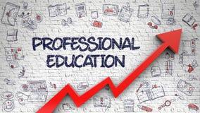Профессиональное образование нарисованное на белой кирпичной стене 3d иллюстрация штока