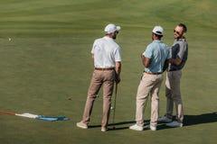 Профессиональные игроки в гольф говоря пока стоящ на зеленом тангаже стоковые фото
