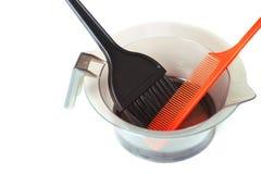 Профессиональные инструменты расцветки волос - изображение запаса Стоковые Изображения