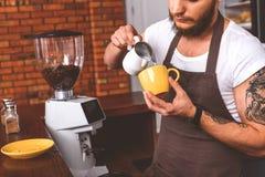 Профессиональный бармен работая в кофейне Стоковые Фото