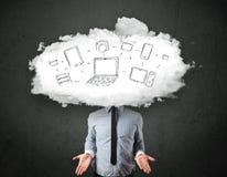 Профессиональный бизнесмен с головой сети облака Стоковое Изображение RF