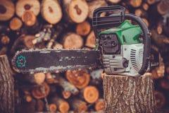 Профессиональный журнал вырезывания лезвия цепной пилы древесины Стоковое Изображение