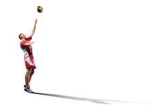 Профессиональный игрок valleyball изолированный на белизне Стоковое фото RF