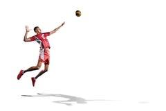 Профессиональный игрок valleyball изолированный на белизне Стоковые Фото