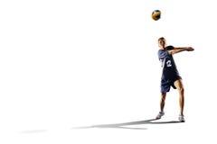 Профессиональный игрок valleyball изолированный на белизне Стоковые Изображения
