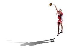 Профессиональный игрок valleyball изолированный на белизне Стоковое Фото