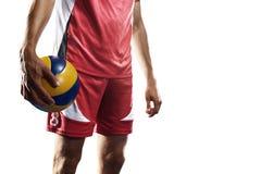 Профессиональный игрок valleyball изолированный на белизне Стоковая Фотография