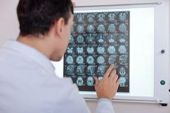 Профессиональный мужской доктор смотря изображение луча x стоковая фотография