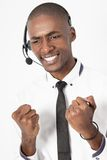 Профессиональный мужчина агента центра телефонного обслуживания разочарован Стоковые Изображения RF