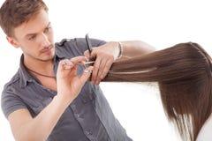 Профессиональный парикмахер с длинной моделью волос стоковая фотография