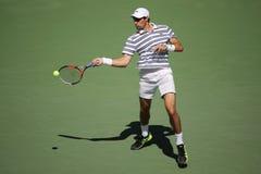 Профессиональный теннисист Джереми Chardy Франции в действии во время его круглой спички 4 на США раскрывает 2015 стоковое фото
