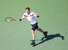 Профессиональный теннисист Andy Мюррей во время спички четвертьфинала на США раскрывает 2013 против Stanislas Wawrinka Стоковое Изображение