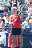 Профессиональный теннисист Johanna Konta Великобритании празднует победу после того как ее третий круг США раскрывает спичку 2015 Стоковое Изображение RF