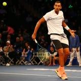 Профессиональный теннисист Nick Kyrgios Австралии в действии во время события тенниса годовщины решающего сражения BNP Paribas 10 Стоковые Фотографии RF