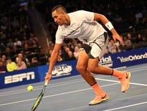 Профессиональный теннисист Nick Kyrgios Австралии в действии во время события тенниса годовщины решающего сражения BNP Paribas 10 Стоковое Фото