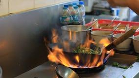 Профессиональный шеф-повар в коммерчески кухне варя flambe сток-видео