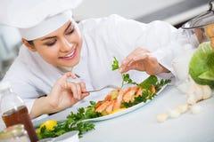 Профессиональный шеф-повар украшая испеченную радугу Стоковые Изображения