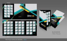 Профессиональный trifold шаблон каталога, брошюры и рогульки для Стоковые Изображения RF